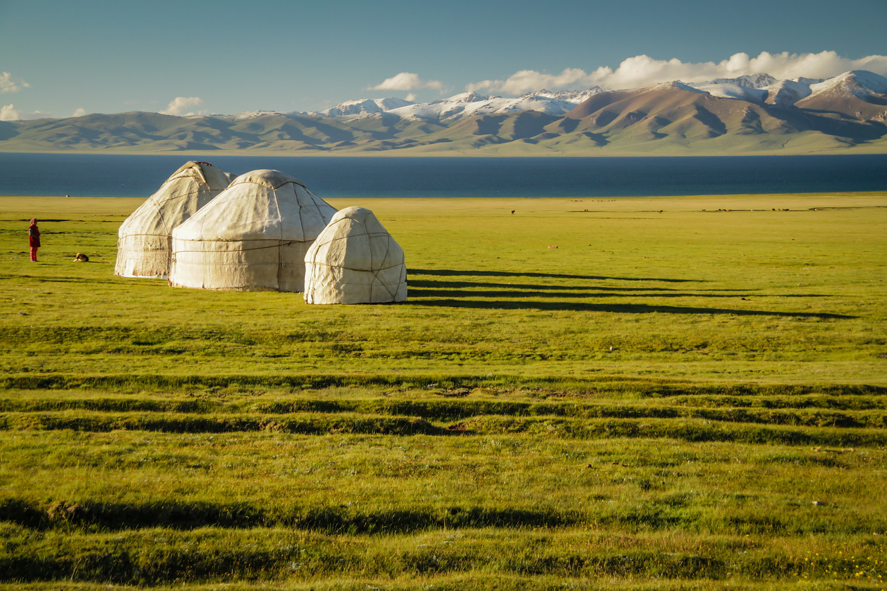 Sleeping in yurts at Song Kul Lake, Kyrgyzstan